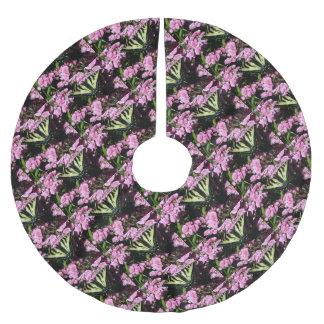 Frack-Schmetterling auf rosa Blumen Polyester Weihnachtsbaumdecke