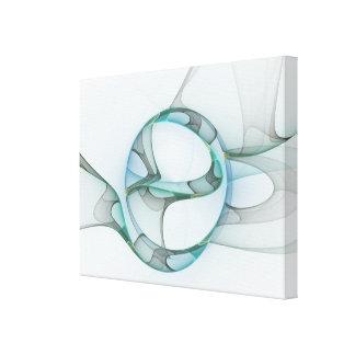 Fractal Art Blue Turquoise Gray Abstract Elegance Leinwanddruck