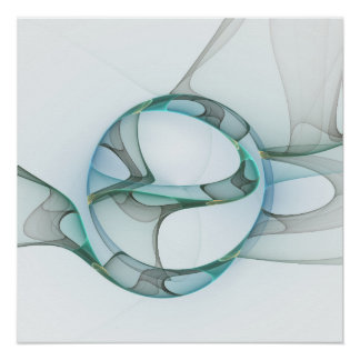 Fractal Art Blue Turquoise Gray Abstract Elegance Poster