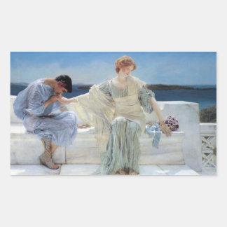 Fragen Sie mich nicht mehr durch Alma Tadema, Rechteckiger Aufkleber