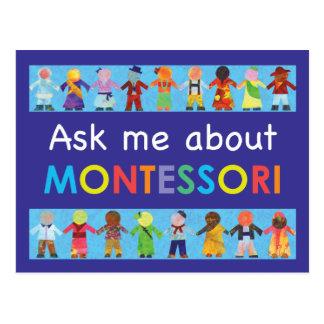 Fragen Sie mich über MONTESSORI Postkarte
