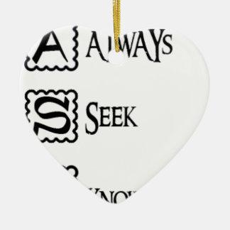 Fragen Sie, suchen Sie immer Wissen Keramik Herz-Ornament