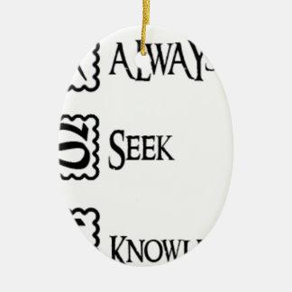 Fragen Sie, suchen Sie immer Wissen Ovales Keramik Ornament
