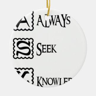 Fragen Sie, suchen Sie immer Wissen Rundes Keramik Ornament