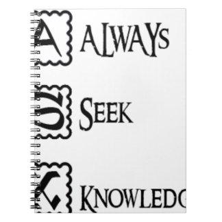 Fragen Sie, suchen Sie immer Wissen Spiral Notizblock