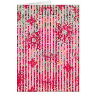 fragtual Streifen des Garten-Blumensommer-Rosas Grußkarte
