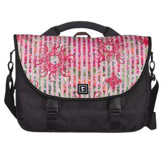 fragtual Streifen des Garten-Blumensommer-Rosas Laptop Taschen