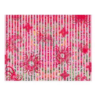 fragtual Streifen des Garten-Blumensommer-Rosas Postkarte