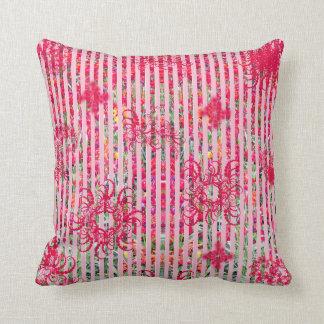 fragtual Streifen des Garten-Blumensommer-Rosas Zierkissen
