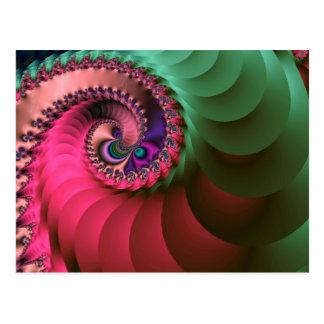 Fraktal farbige Spiralen Postkarte