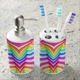 Fraktal gebogene Streifen Seifenspender & Zahnbürstenhalter