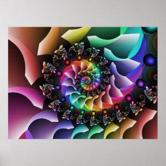 Fraktal-gewundene Farbparade Poster