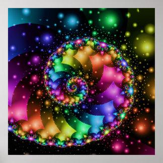 Fraktal-gewundener Regenbogen-Nebelfleck Poster