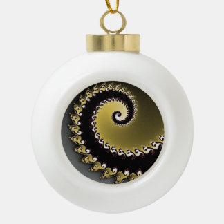 Fraktal. Gold, Silber, schwarz Keramik Kugel-Ornament
