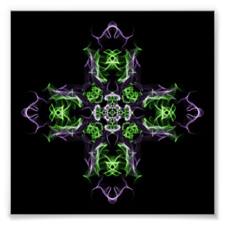 Fraktal-grüne u. lila quere private Betrachtung Poster