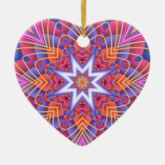 Fraktal-Kaleidoskop-gedämpftes Pastell-Herz Keramik Herz-Ornament