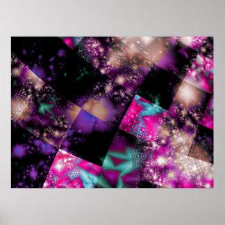 Fraktal-kosmisches Patchwork-Plakat Poster