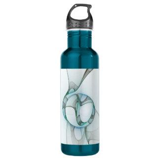 Fraktal-Kunst-blauer Türkis-graue abstrakte Trinkflasche