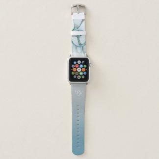 Fraktal-Kunst-blauer Türkis-graues abstraktes Apple Watch Armband