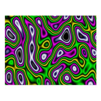 Fraktal-Labyrinth-gelbes Grün-Magenta Postkarte
