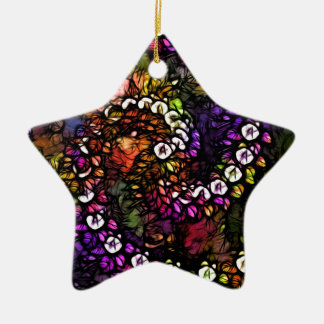Fraktal lila psychedelische Regenbogen-Spirale Keramik Ornament