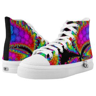 Fraktal-Regenbogen-Explosion Hoch-geschnittene Sneaker