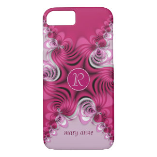 Fraktal-rosa Wirbels-Monogramm-Name iPhone 7 Fall iPhone 8/7 Hülle