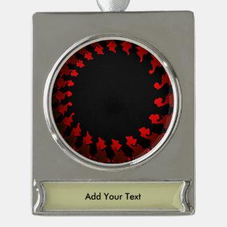Fraktal-rotes Schwarz-weißes Banner-Ornament Silber