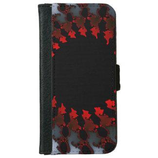 Fraktal-rotes Schwarz-weißes iPhone 6/6s Geldbeutel Hülle