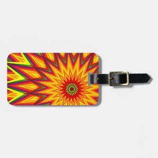 Fraktal-Sonnenblume-bunte abstrakte Blumenkunst Gepäckanhänger