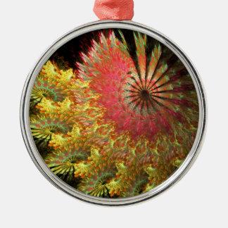 Fraktal Spirale Rundes Silberfarbenes Ornament