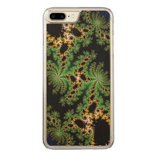 Fraktal-Wald - grün, gelb und schwarz Carved iPhone 8 Plus/7 Plus Hülle