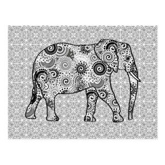 Fraktalstrudelelefant - Grau, Schwarzweiss Postkarte