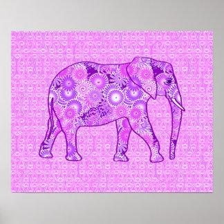 Fraktalstrudelelefant - lila und Orchidee Poster