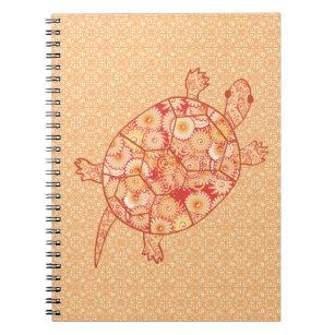 Fraktalstrudelschildkröte - Schatten der Mandarine Spiral Notizblock