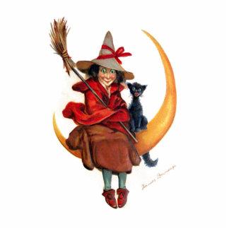 Frances Brundage Hexe auf Sichel-Mond Foto Figuren
