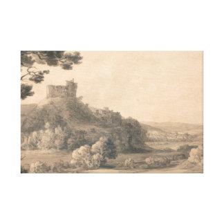 Francis Towne - Oakhampton Schloss Leinwanddruck