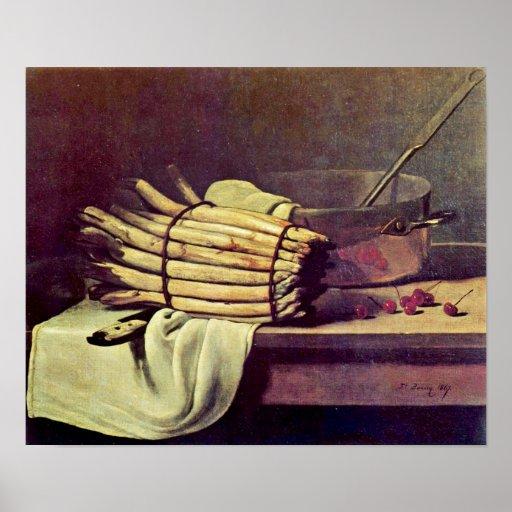 Francois Bonvin - Stillleben mit Spargel Poster