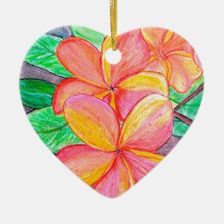 Frangipani-Blumen Keramik Ornament