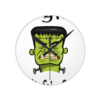 Frankenstein Kürbisgewürz Runde Wanduhr