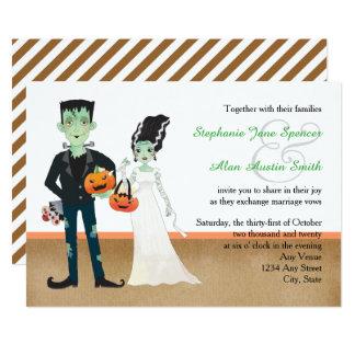 Frankenstein und Braut-Halloween-Hochzeit 12,7 X 17,8 Cm Einladungskarte
