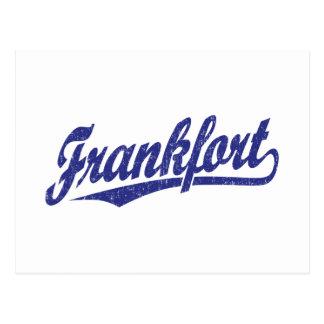 Frankfort-Skriptlogo im Blau beunruhigt Postkarte