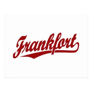 Frankfort-Skriptlogo im Rot Postkarte