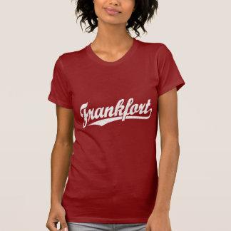 Frankfort-Skriptlogo im Weiß beunruhigt T-Shirt