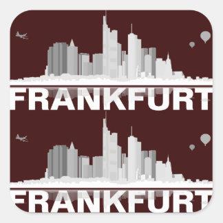 Frankfurt City Skyline Geschenkidee Quadrat-Aufkleber