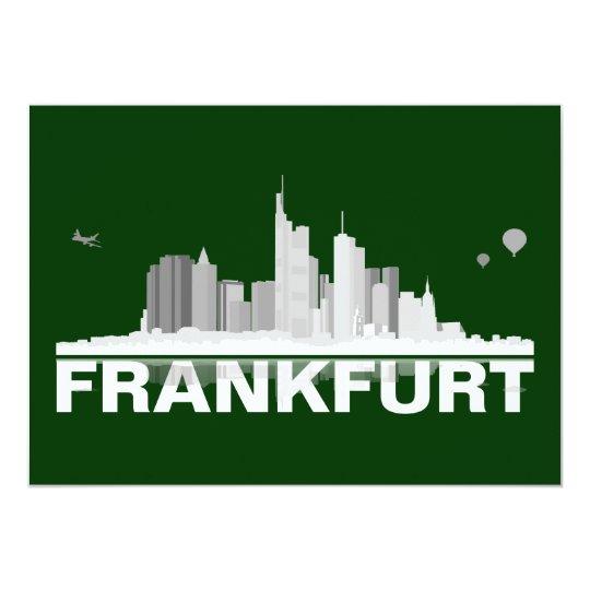 Frankfurt City Skyline Karte / Klappkarte 12,7 X 17,8 Cm Einladungskarte