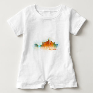 Frankfurt Germany City Watercolor Skyline Hq v3 Baby Strampler