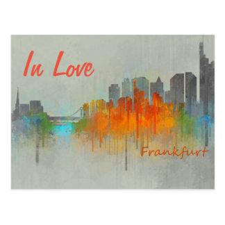 Frankfurt Germany City Watercolor Skyline In Love Postkarte