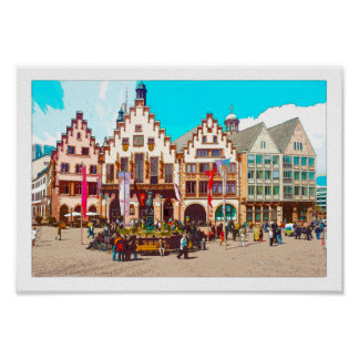 Frankfurt, Germany Römer, Market Place Poster