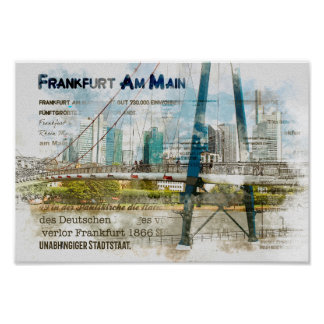 Frankfurt Panorama. Skyscrapers, Eiserner Steg Poster